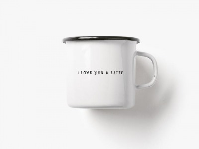 Emaille Becher love you latte 300ml