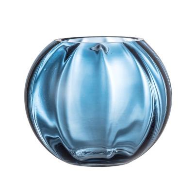 Glasvase blau - rund