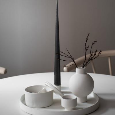 rundes Keramiktablett weiß Grimshuld matt von