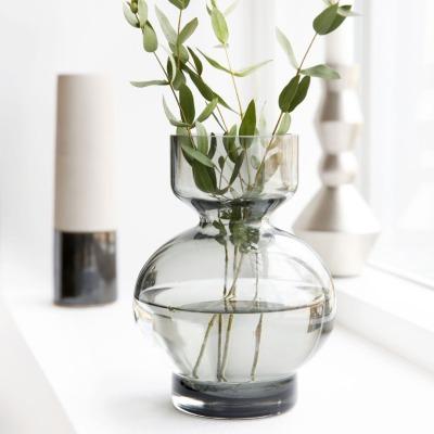 Vase LOWA aus Glas grau von