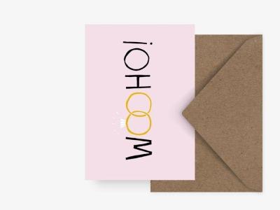 Grußkarte wooho - mit Umschlag