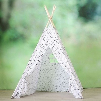 Tipi - Zelt für Kinder - weiss mit schwarzen Punkten