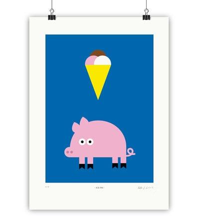 ICE PIG - Kunstdruck