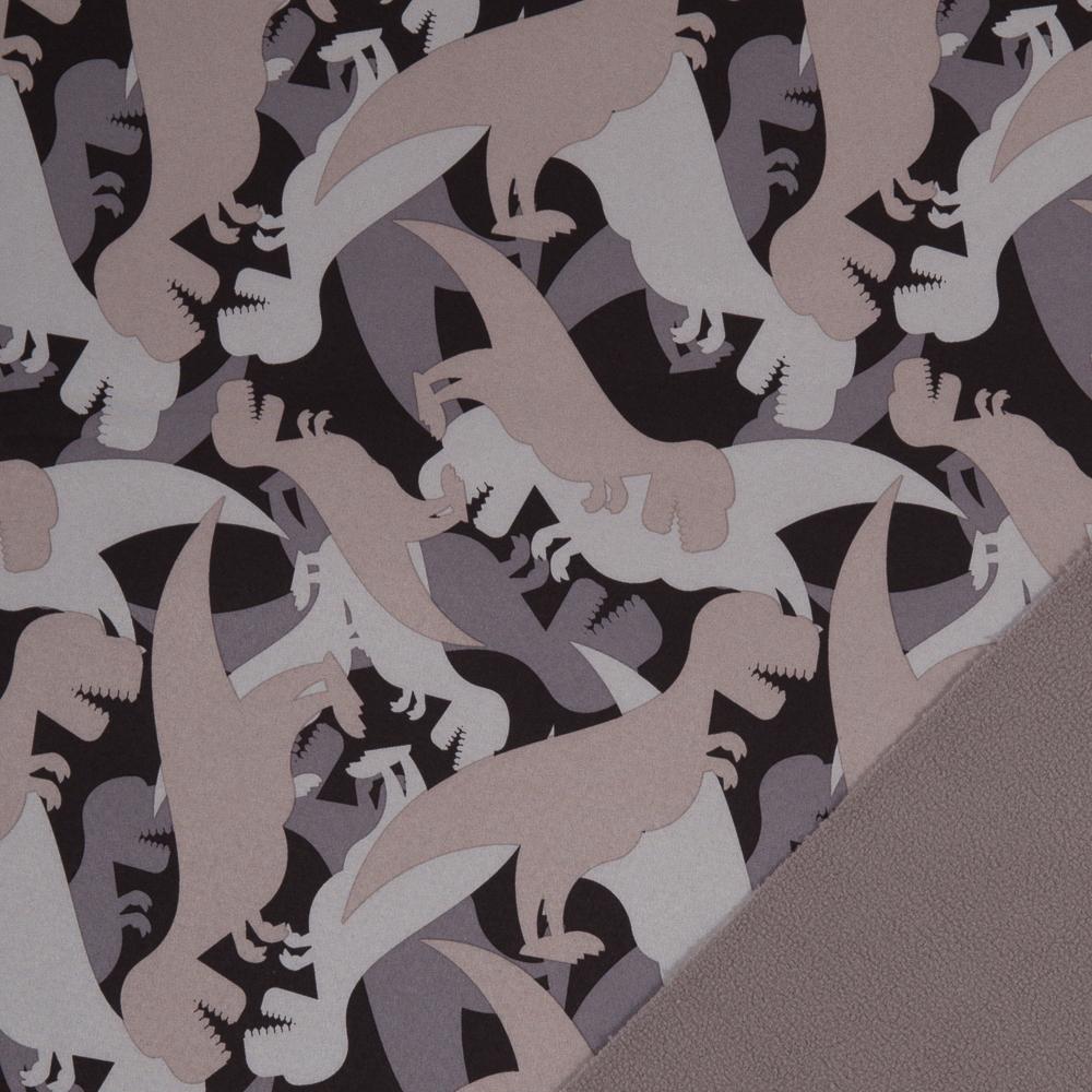 Softshell dunkelbraun beige gemustert mit Dinosauriern