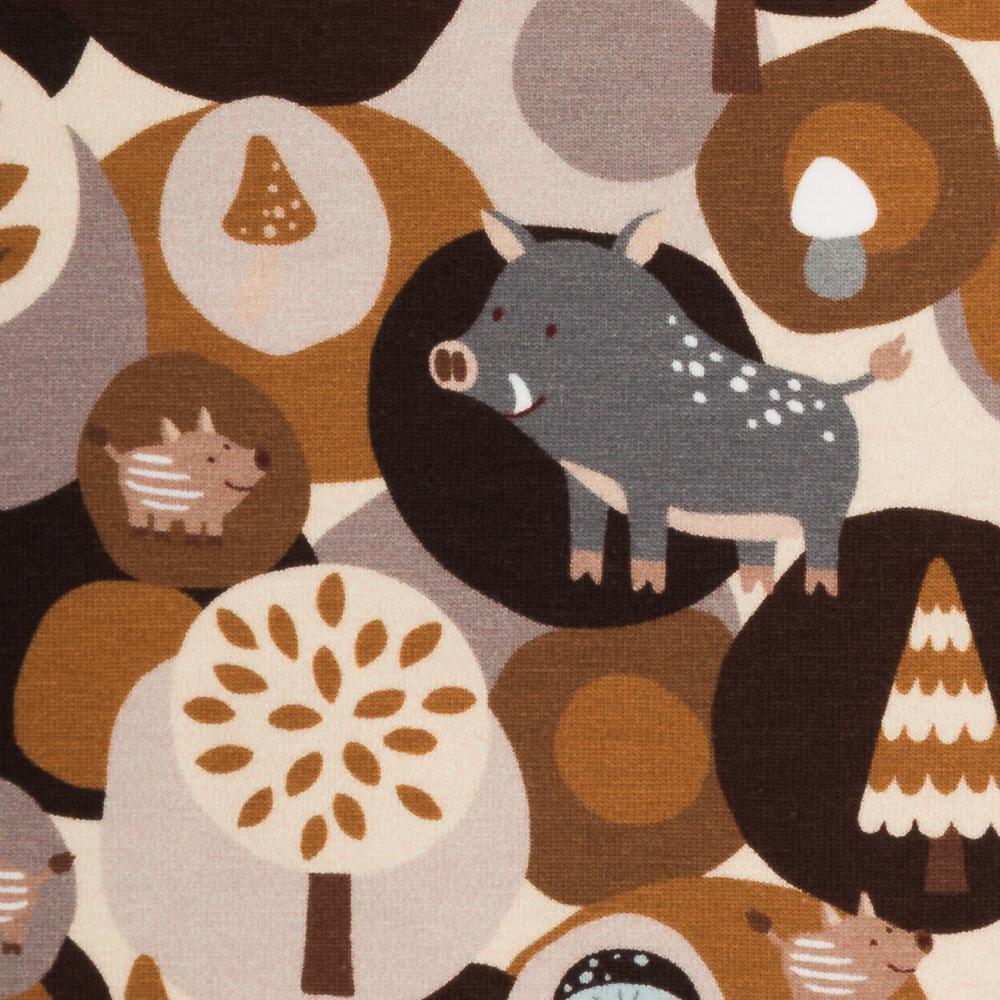 Jersey Woody Wildschweine Wald beige Steinbeck