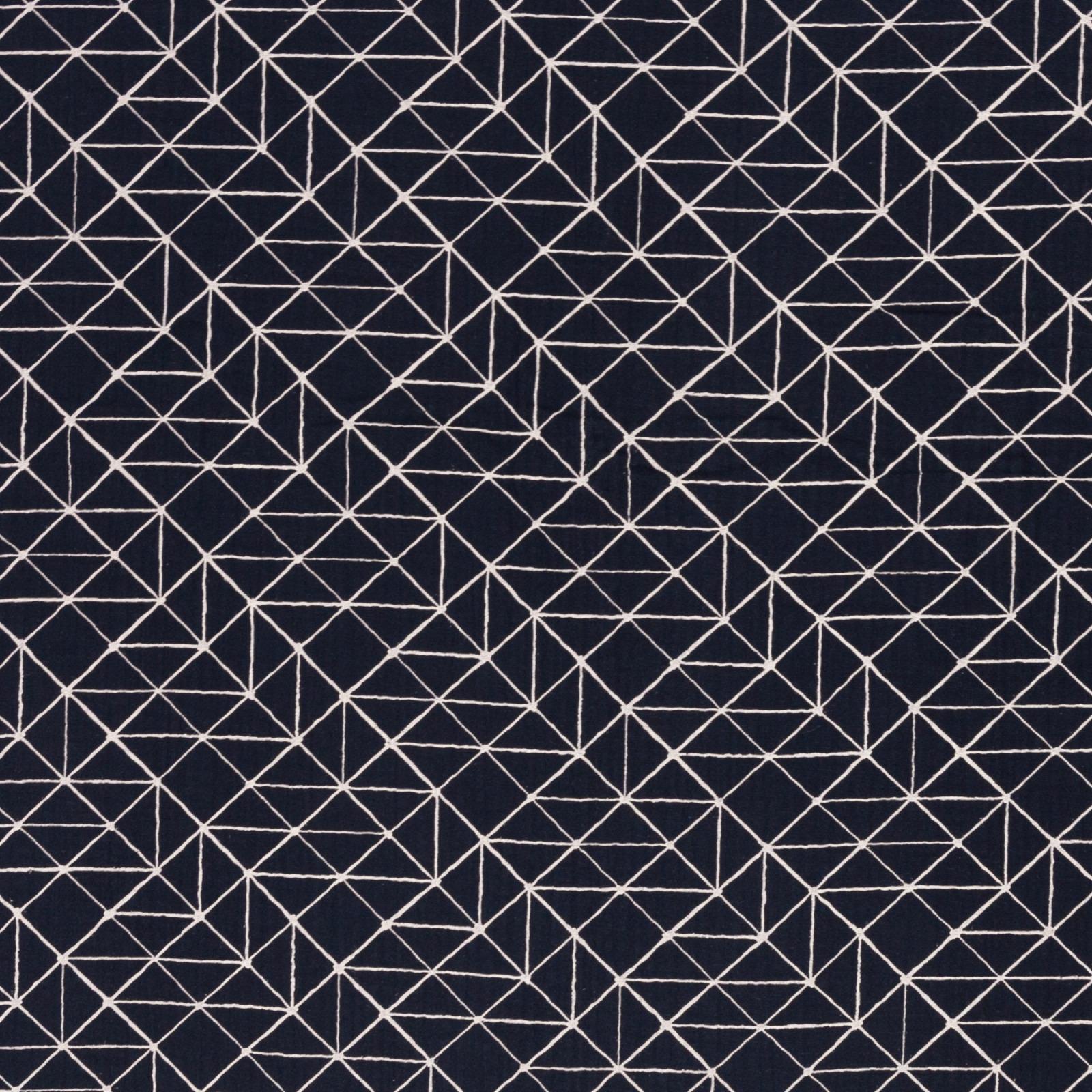 Musselin EUR/m dunkelblau mit geometrischen Linien