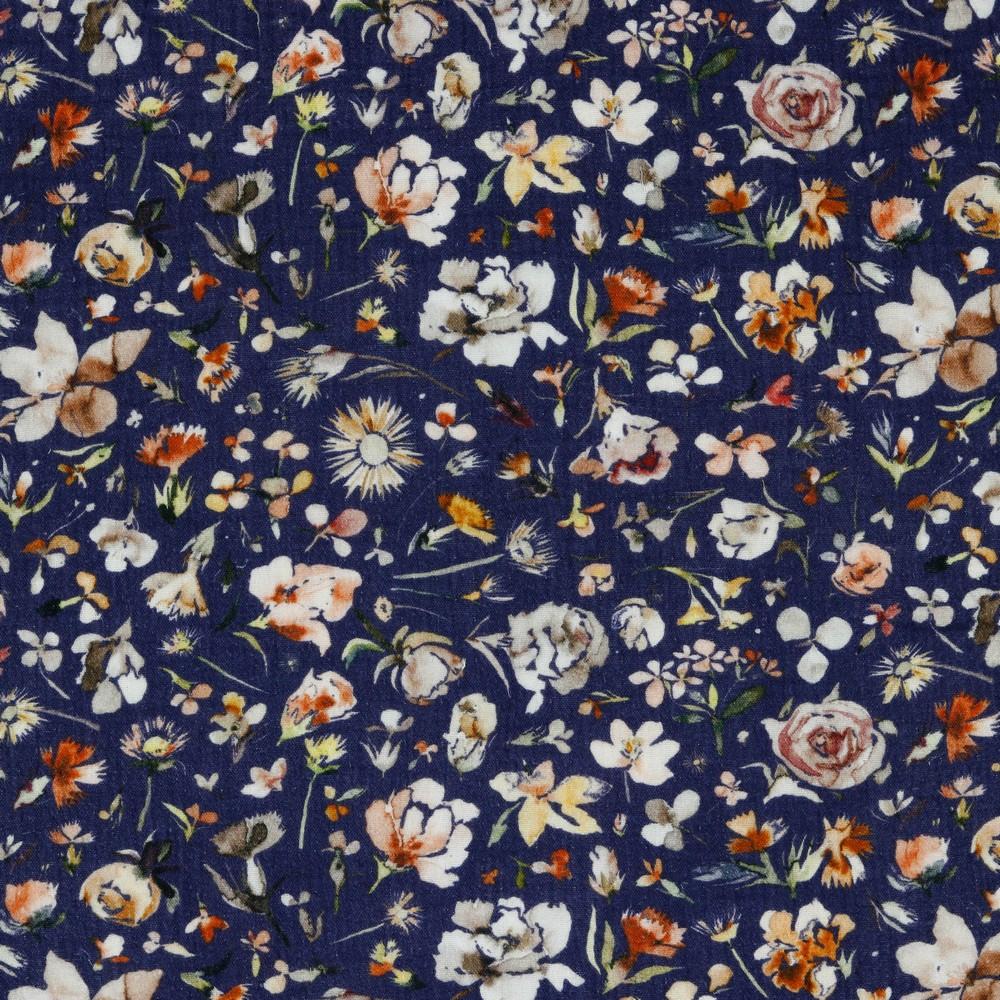 Musselin EUR/m Digitaldruck Blumen auf dunkelblau