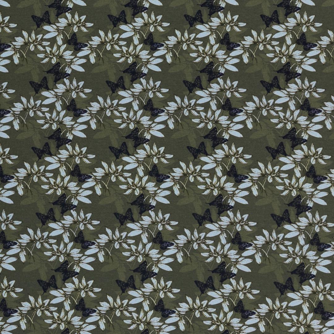 French Terry EUR/m khaki mit Blüten