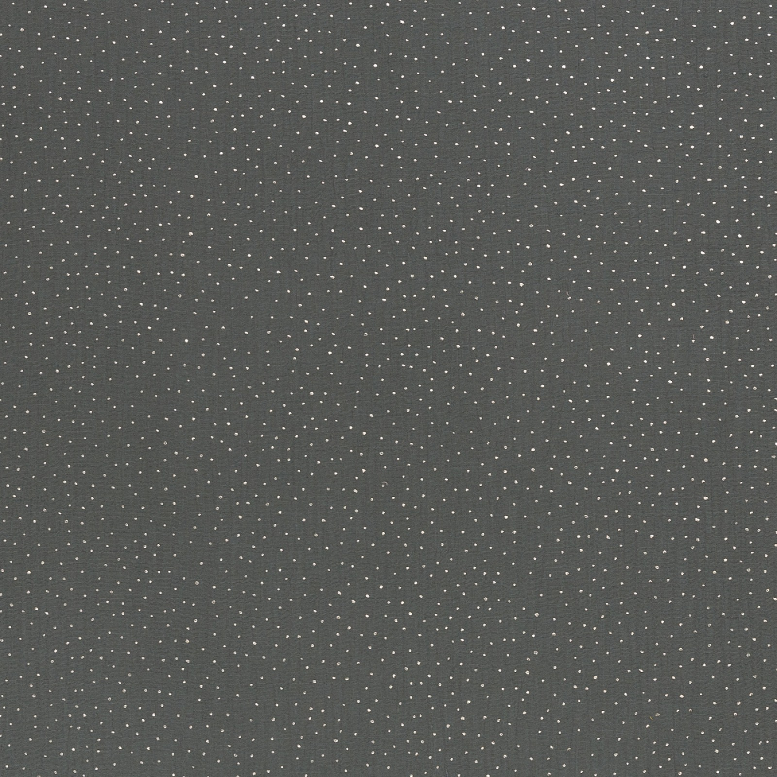 Musselin EUR/m dunkelgrau mit silberfarbenen Pünktchen