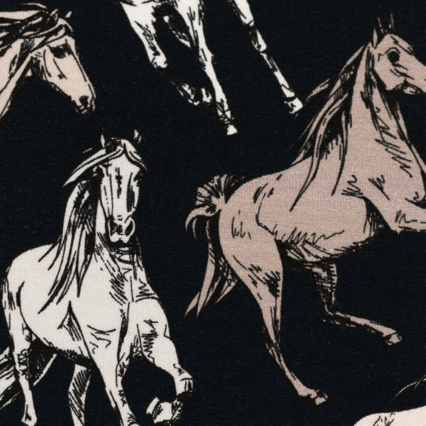 Jersey EUR/m Pferde auf dunkelblau Swafing