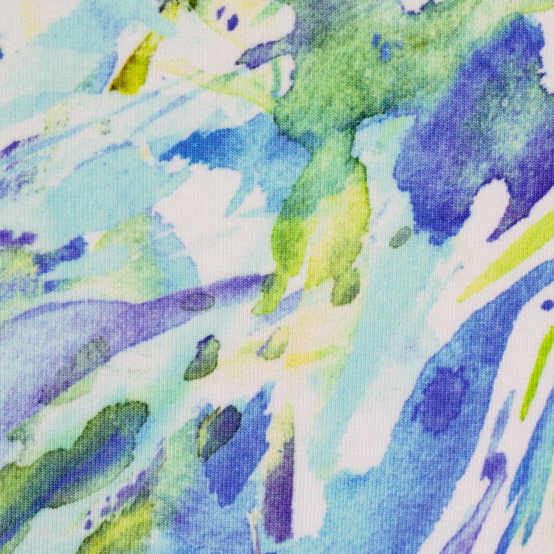 French Terry EUR/m Wasserfarben blau grün