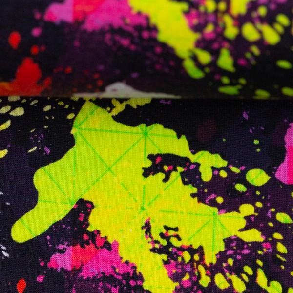 Sweat EUR/m bunte Farbkleckse auf schwarz