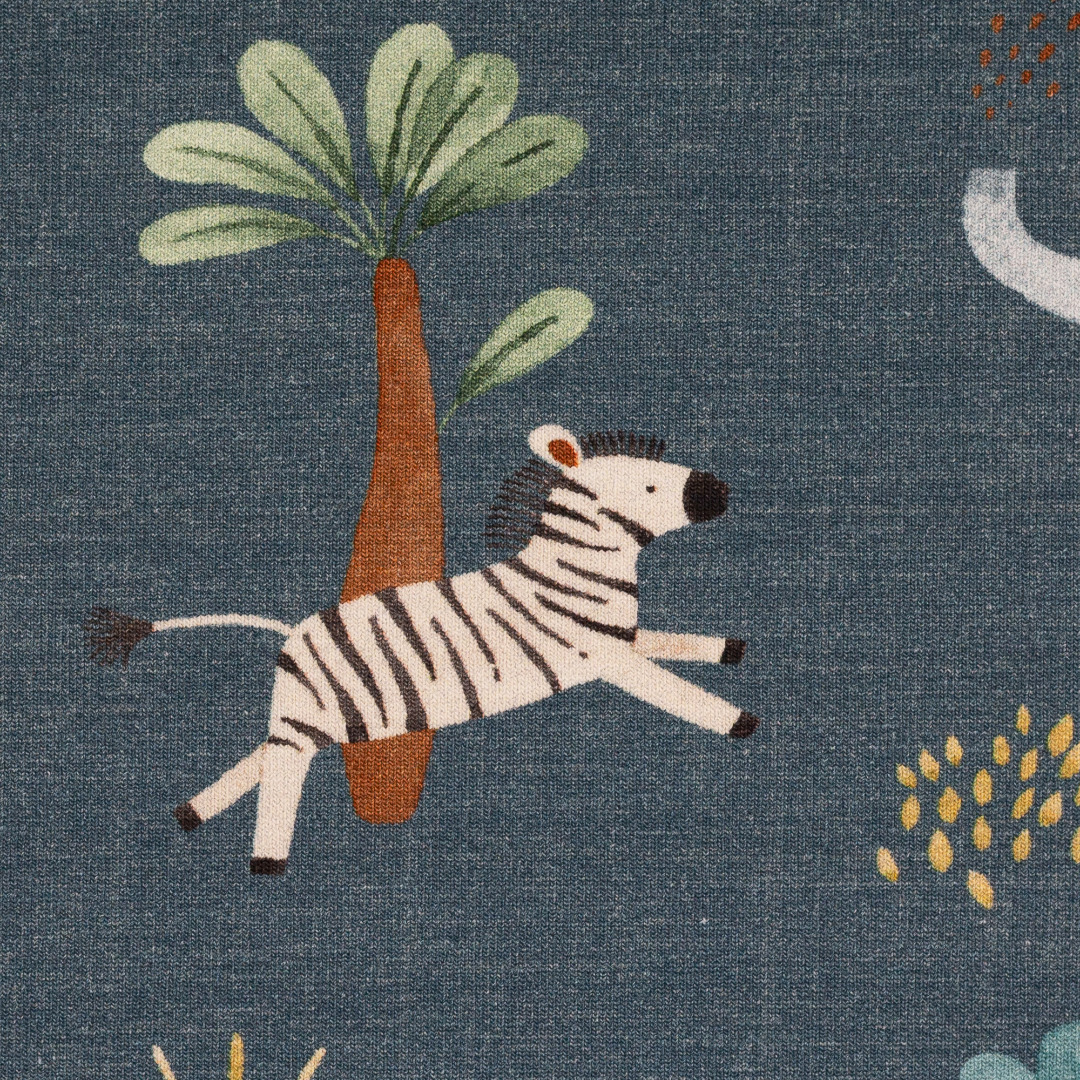 Jersey EUR/m jeansblau meliert Elefant Zebra