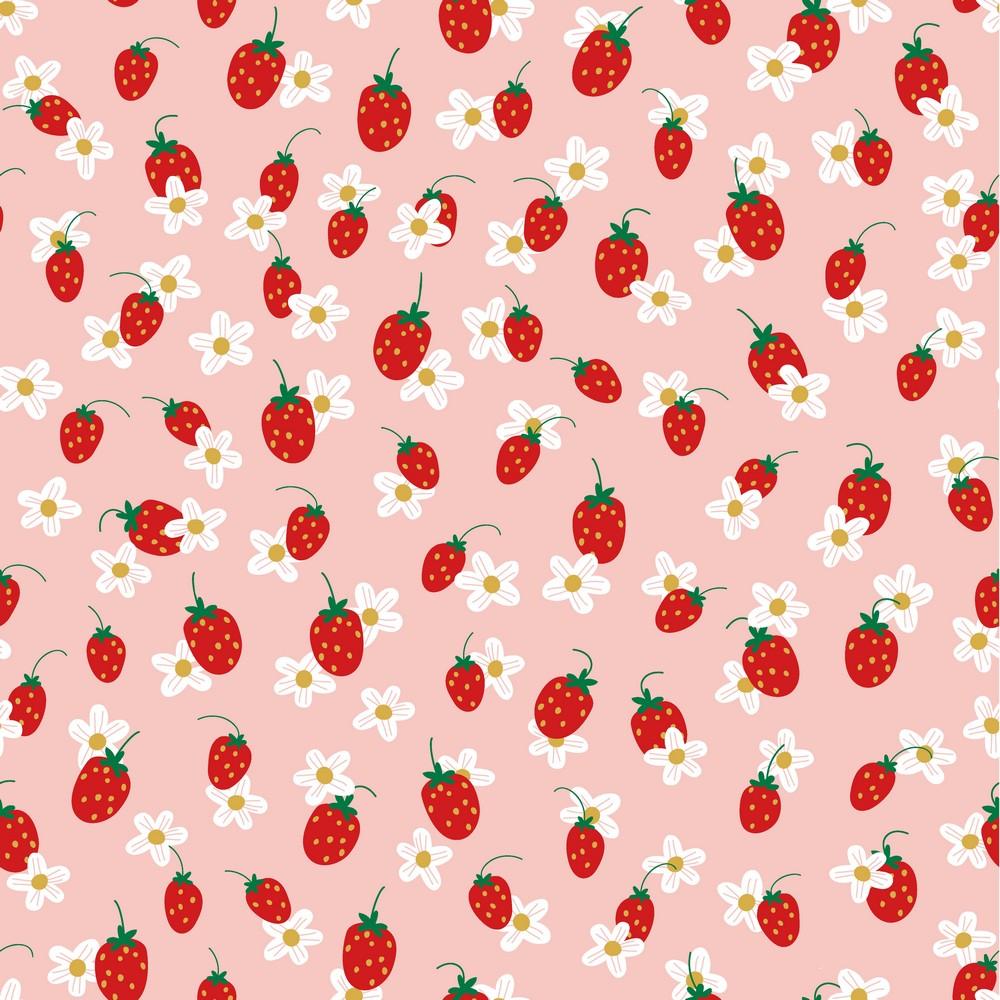 Jersey 1500 EUR/m Erdbeeren auf rosa