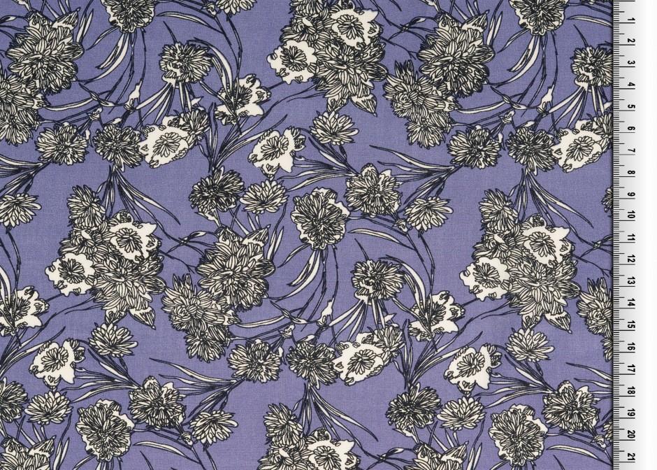 Viskosestoff EUR/m Viskose lila mit filigranem
