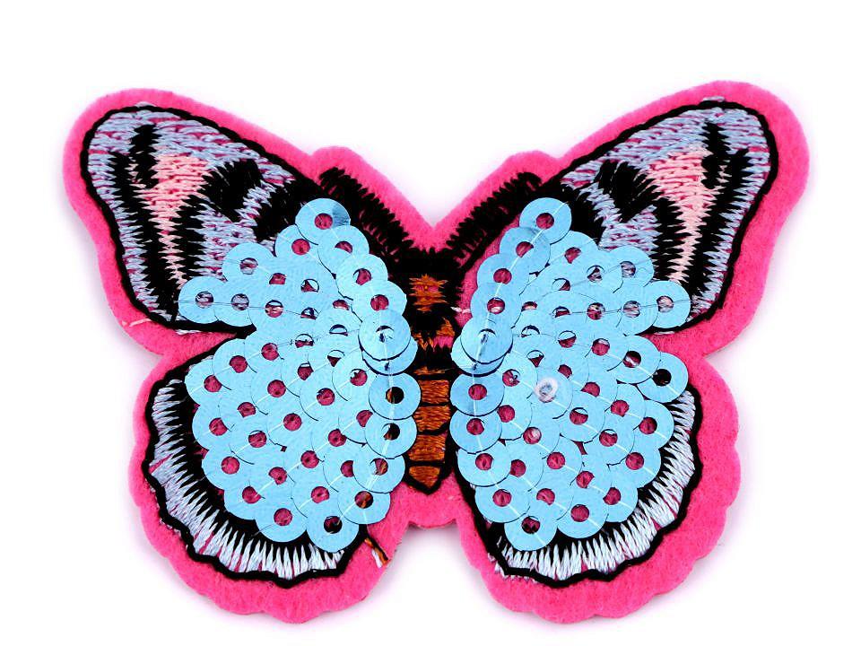 Aufbügler Schmetterling pink hellblau mit Pailletten