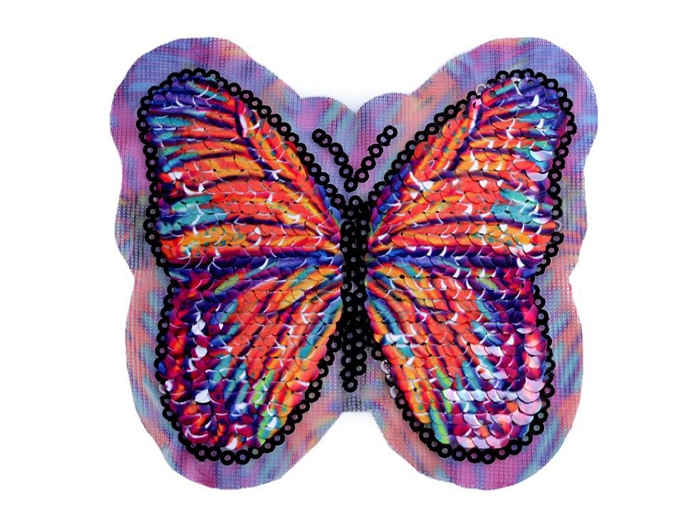 Aufbügler Schmetterling Wendepailletten Aufnäher Wechselpailletten orange