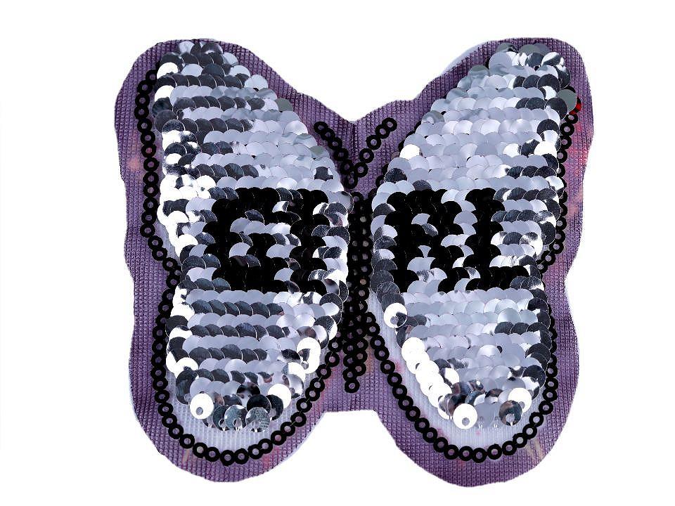 Aufbügler Schmetterling Wendepailletten Aufnäher Wechselpailletten schwarz