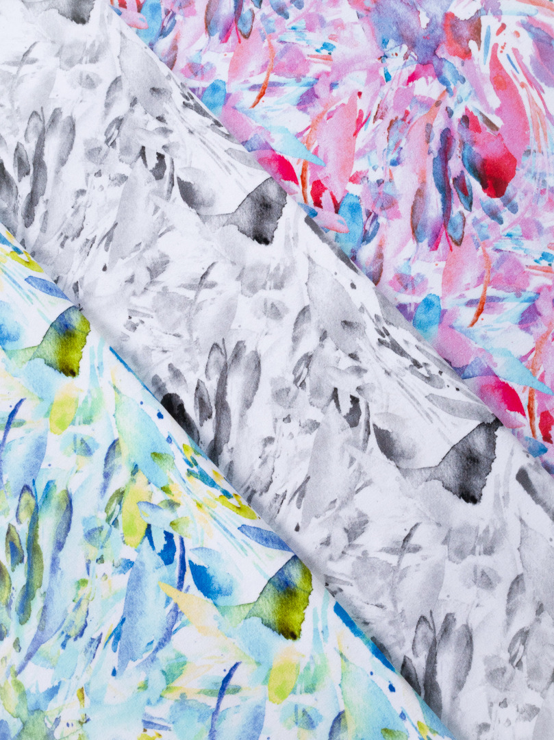 French Terry EUR/m Wasserfarben lila rosa