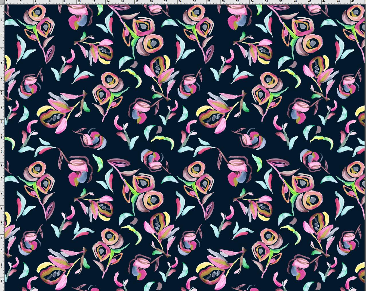 Jersey EUR/m abstrakte bunte Blumen auf