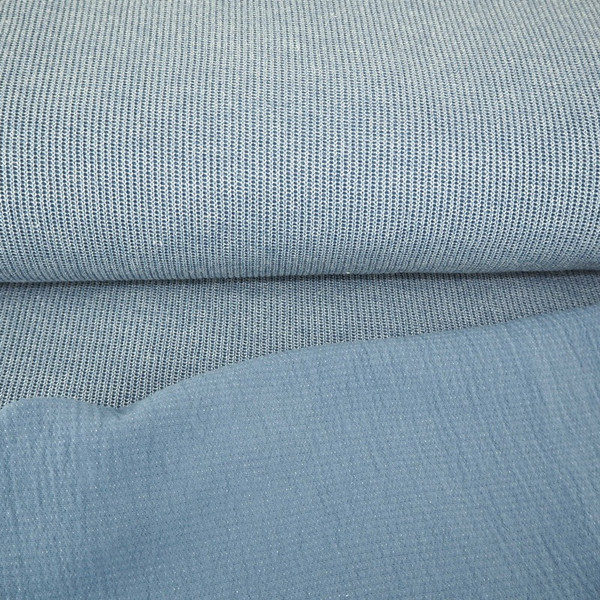 Rippenstrick Rippensweat Rippen Strick jeansblau