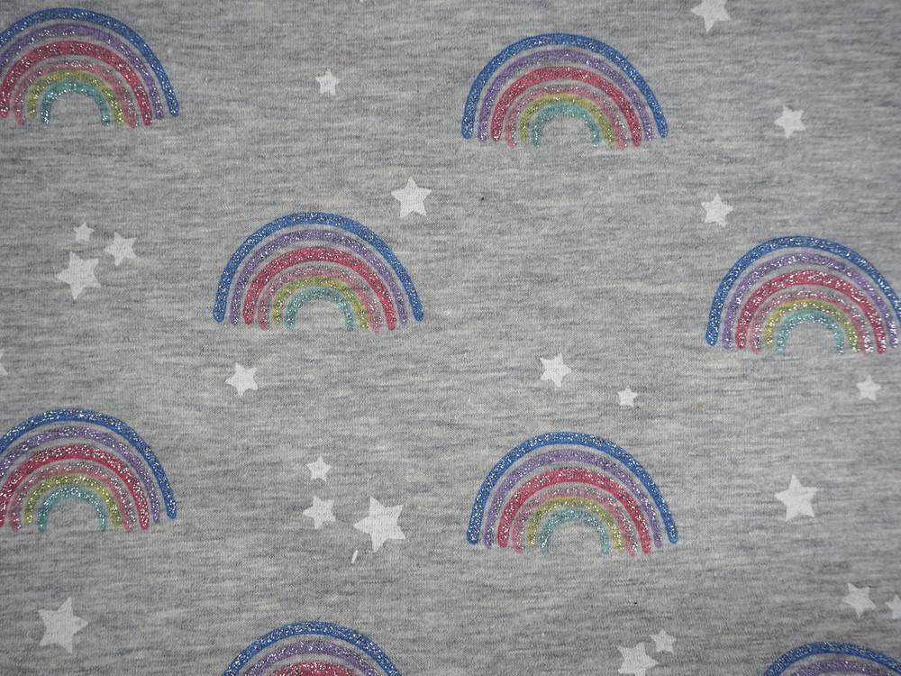 Jersey Glitzer Regenbogen Sterne graumeliert