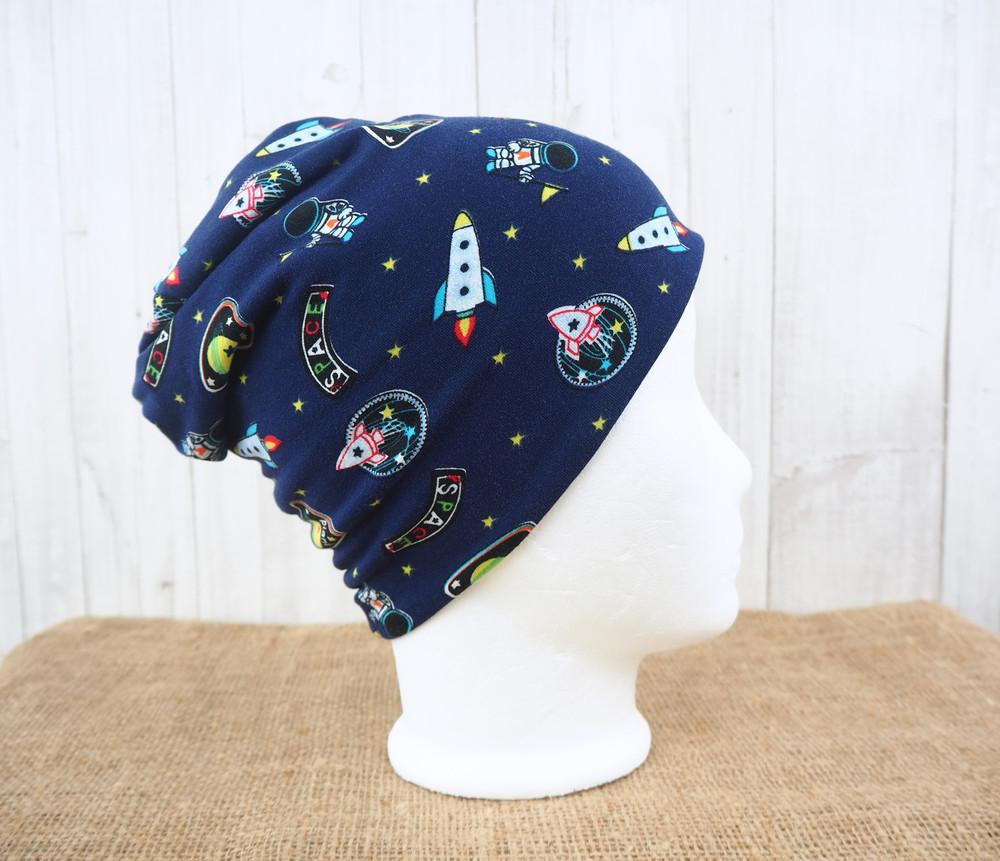 Beanie Wendebeanie Astronaut Raketen Sterne Jersey