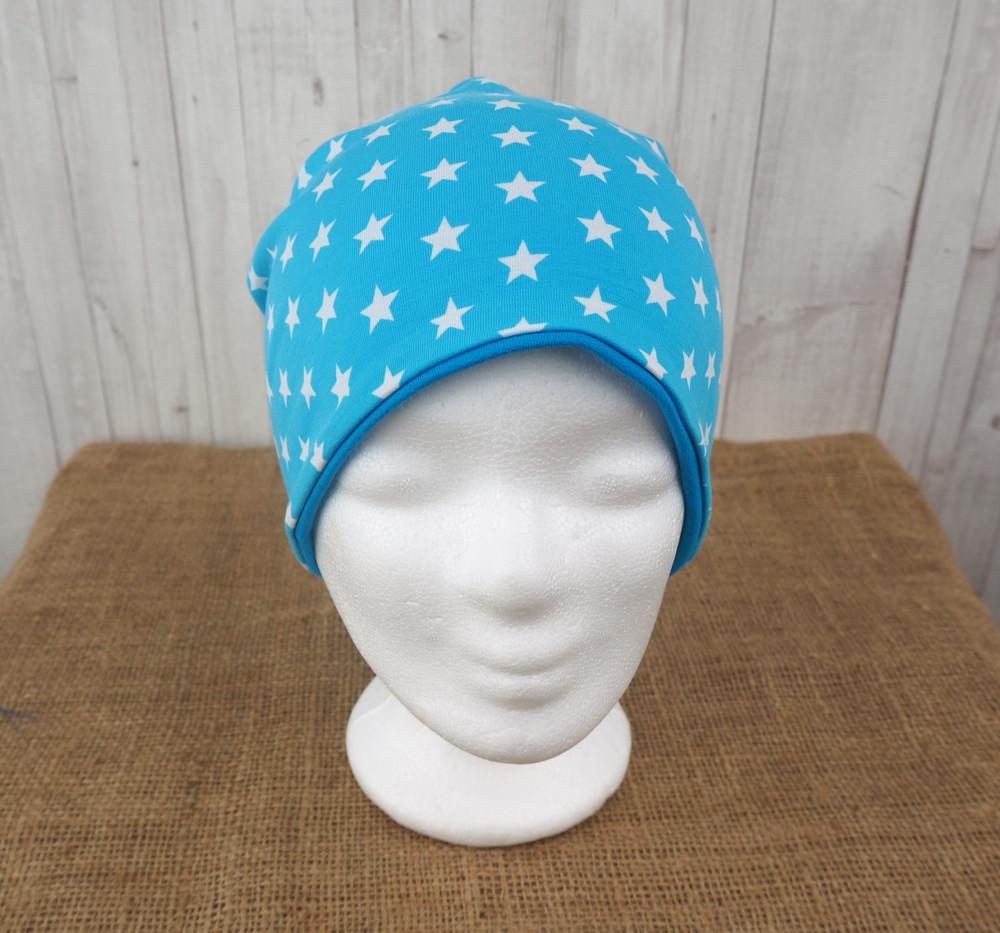 Beanie Mütze türkis Sterne Jersey cm