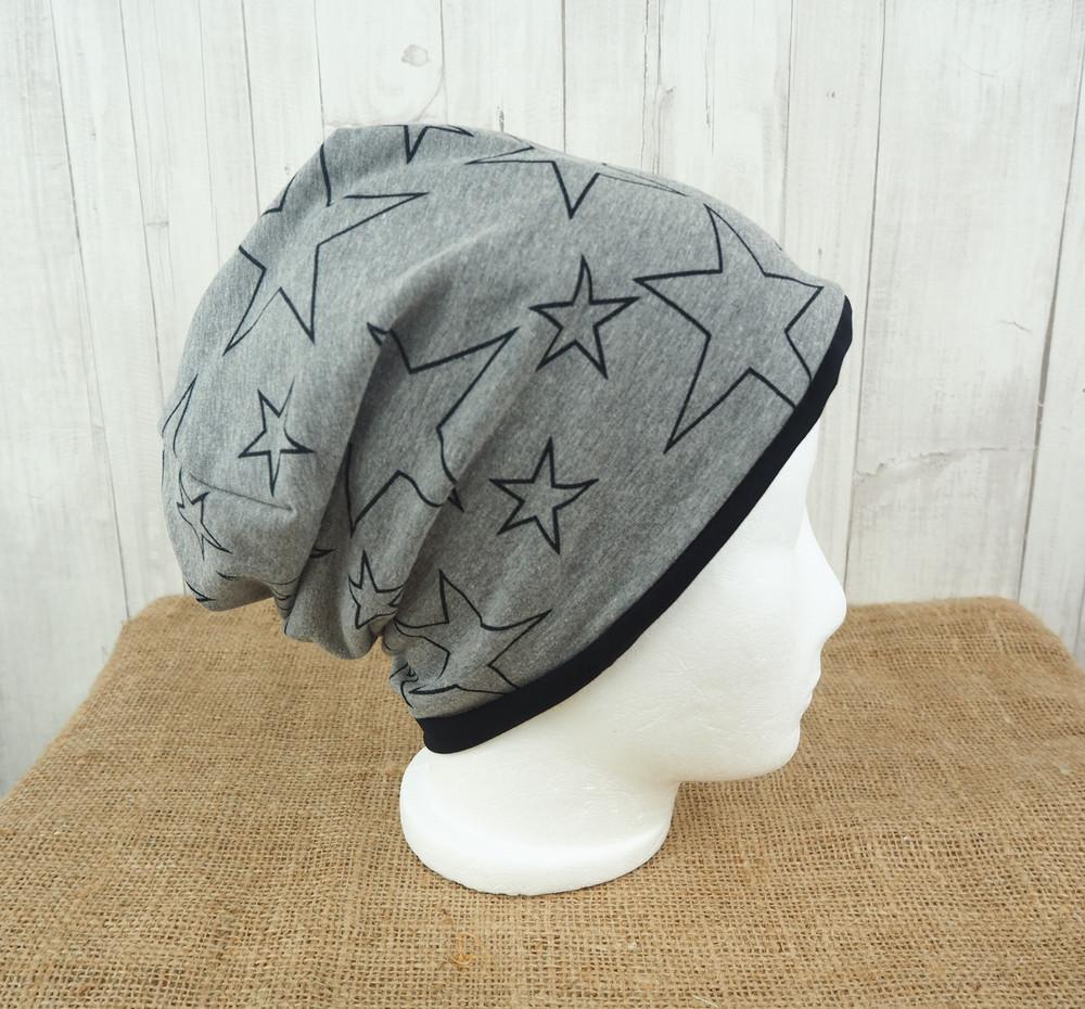 Beanie Sterne grau schwarz 54 -