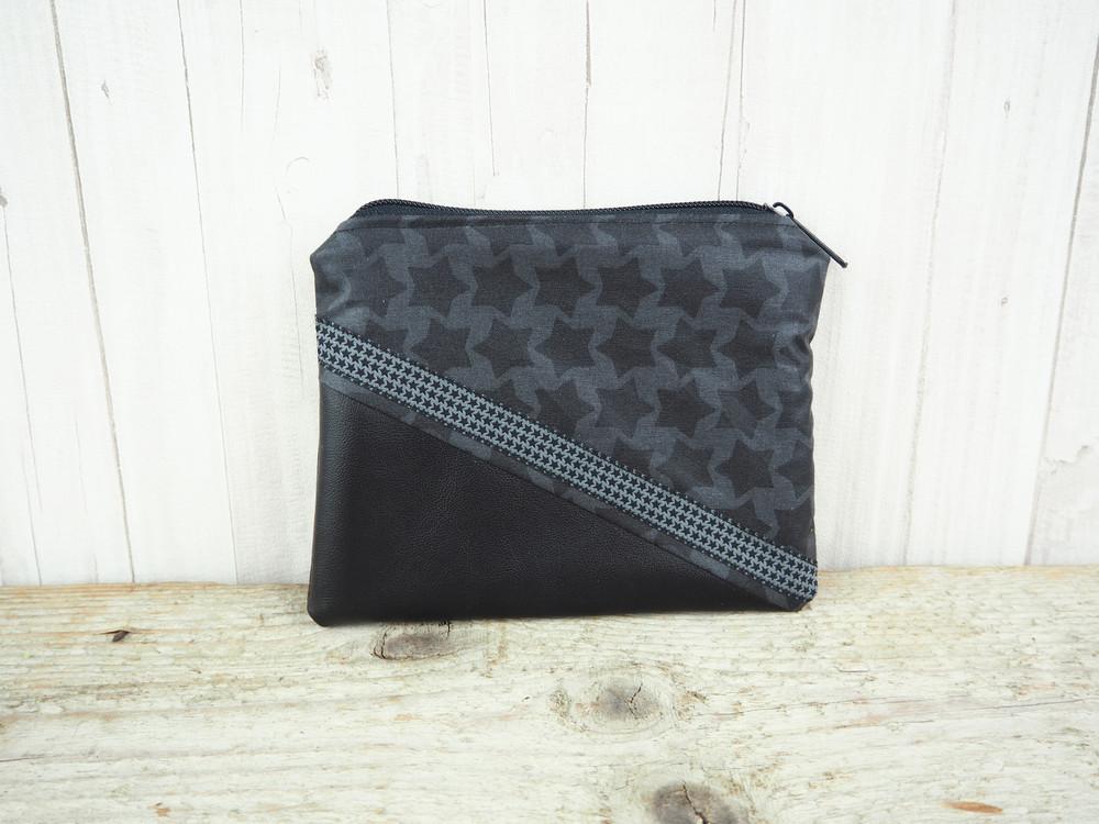 Reißverschlusstasche Sterne schwarz Kunstleder 3