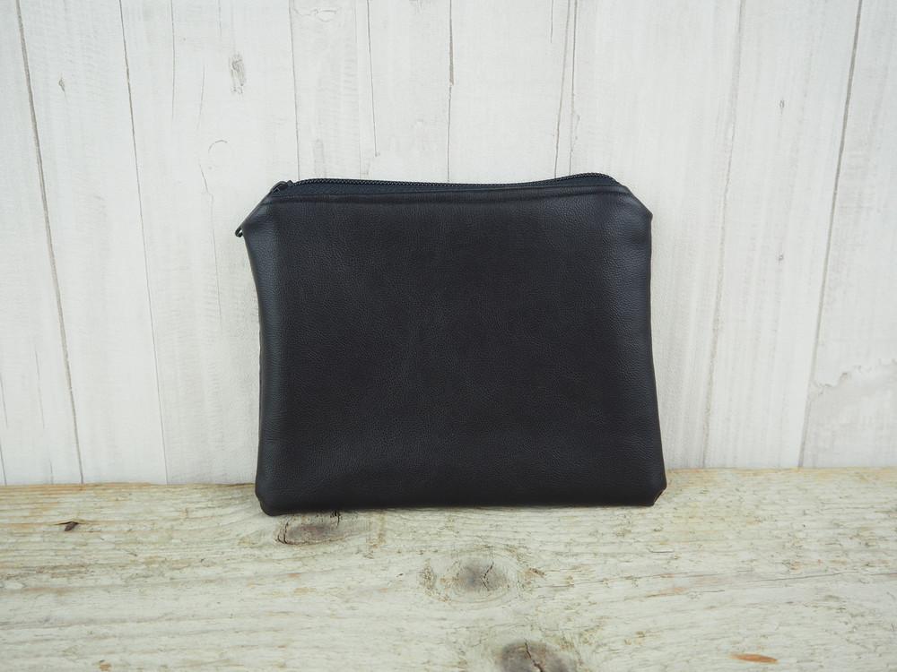 Reißverschlusstasche Sterne schwarz Kunstleder 4