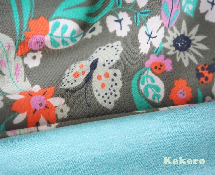 Kinderbeanie Beanie Mütze Schmetterlinge Blumen 2