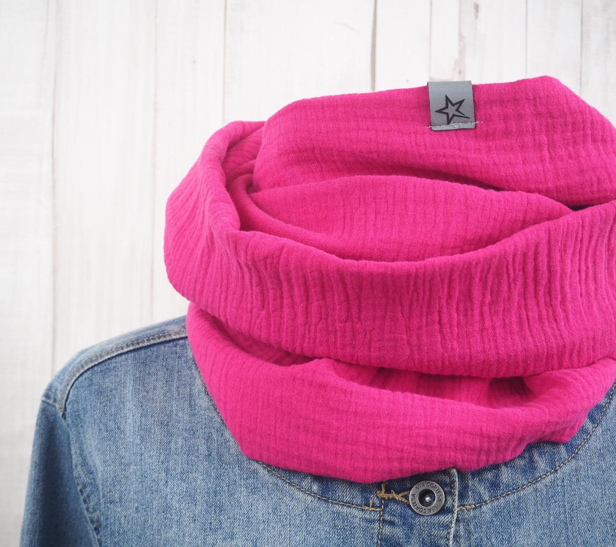 Loop Musselin Damen - Loopschal pink