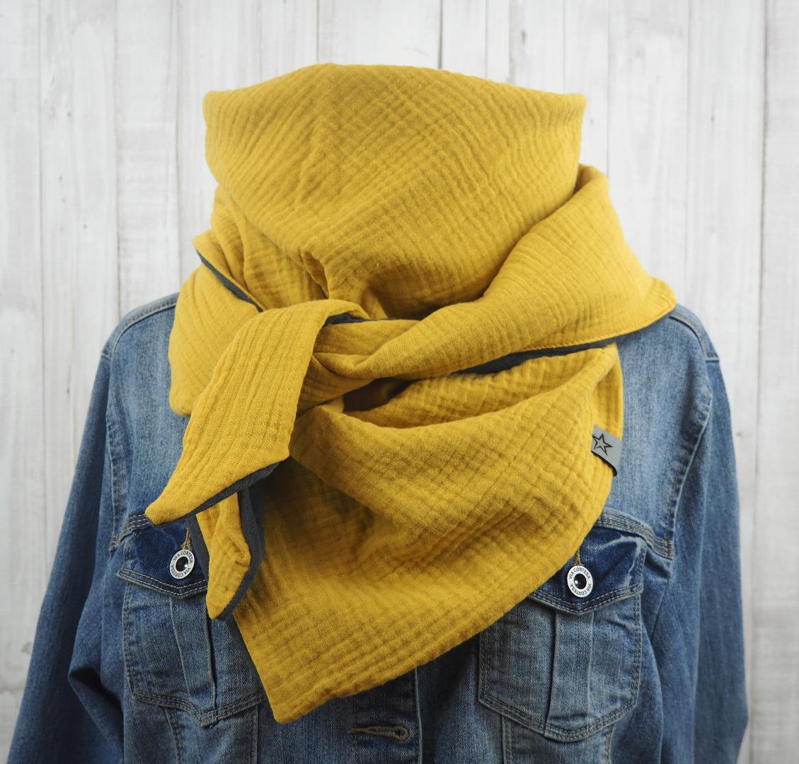 Tuch Dreieckstuch Musselin Damen Schal senfgelb