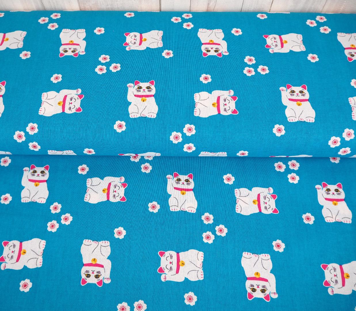 Baumwolle EUR/m Winkekatze und Kirschblüten auf