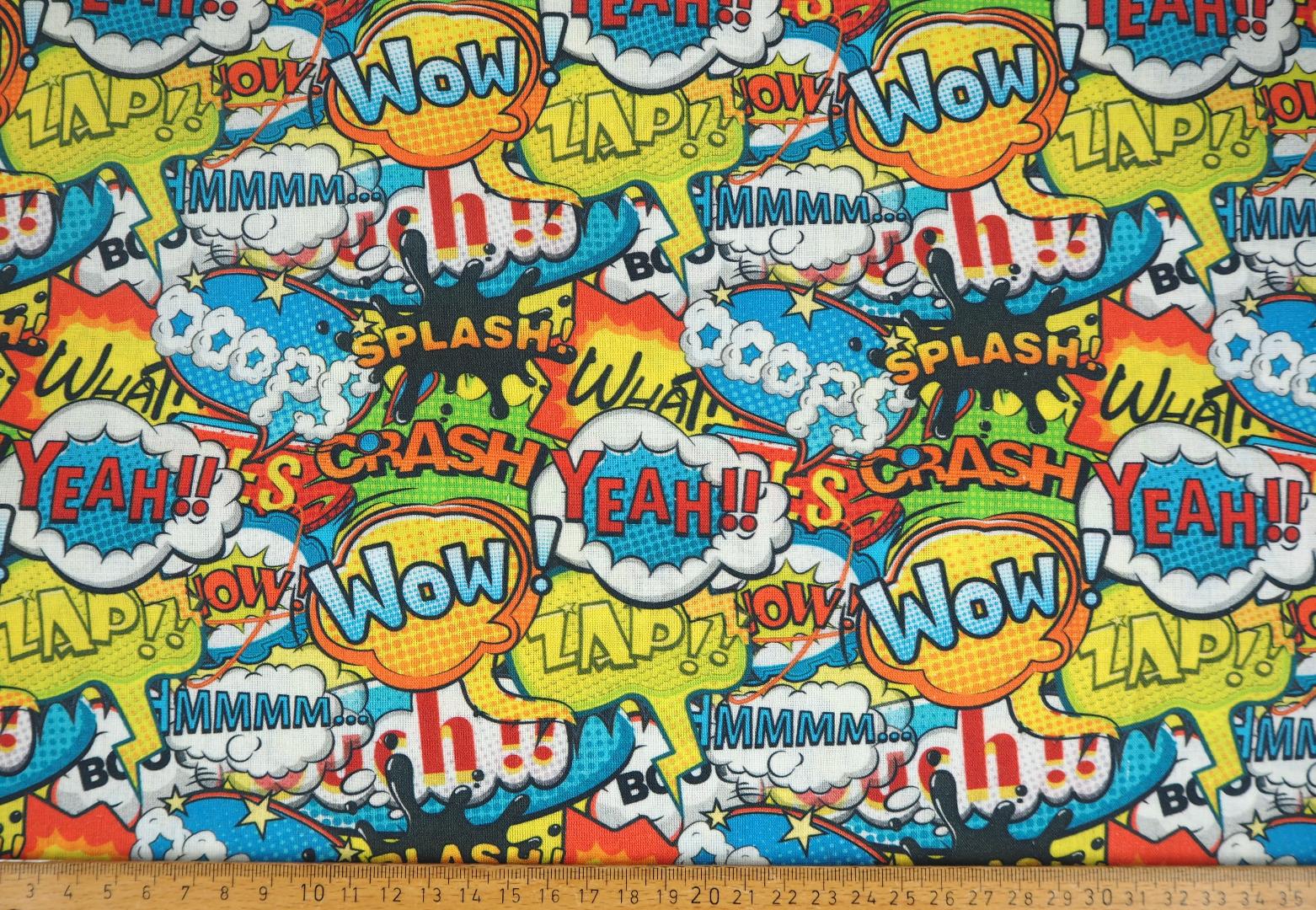 Baumwolle EUR/m Comic Sprechblasen Webware Coole