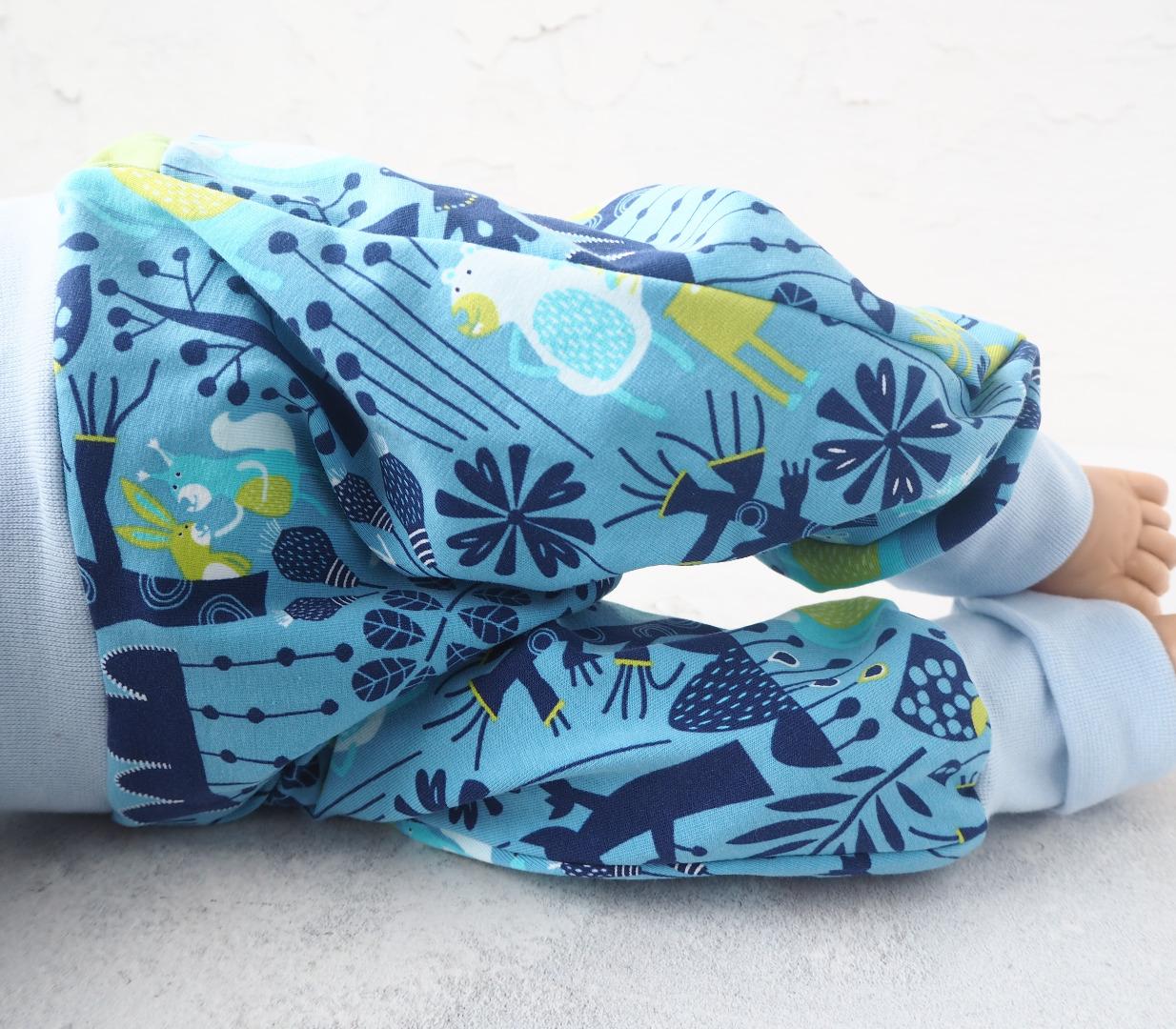 Pumphose Baby hellblau mit Waldtieren Haremshose