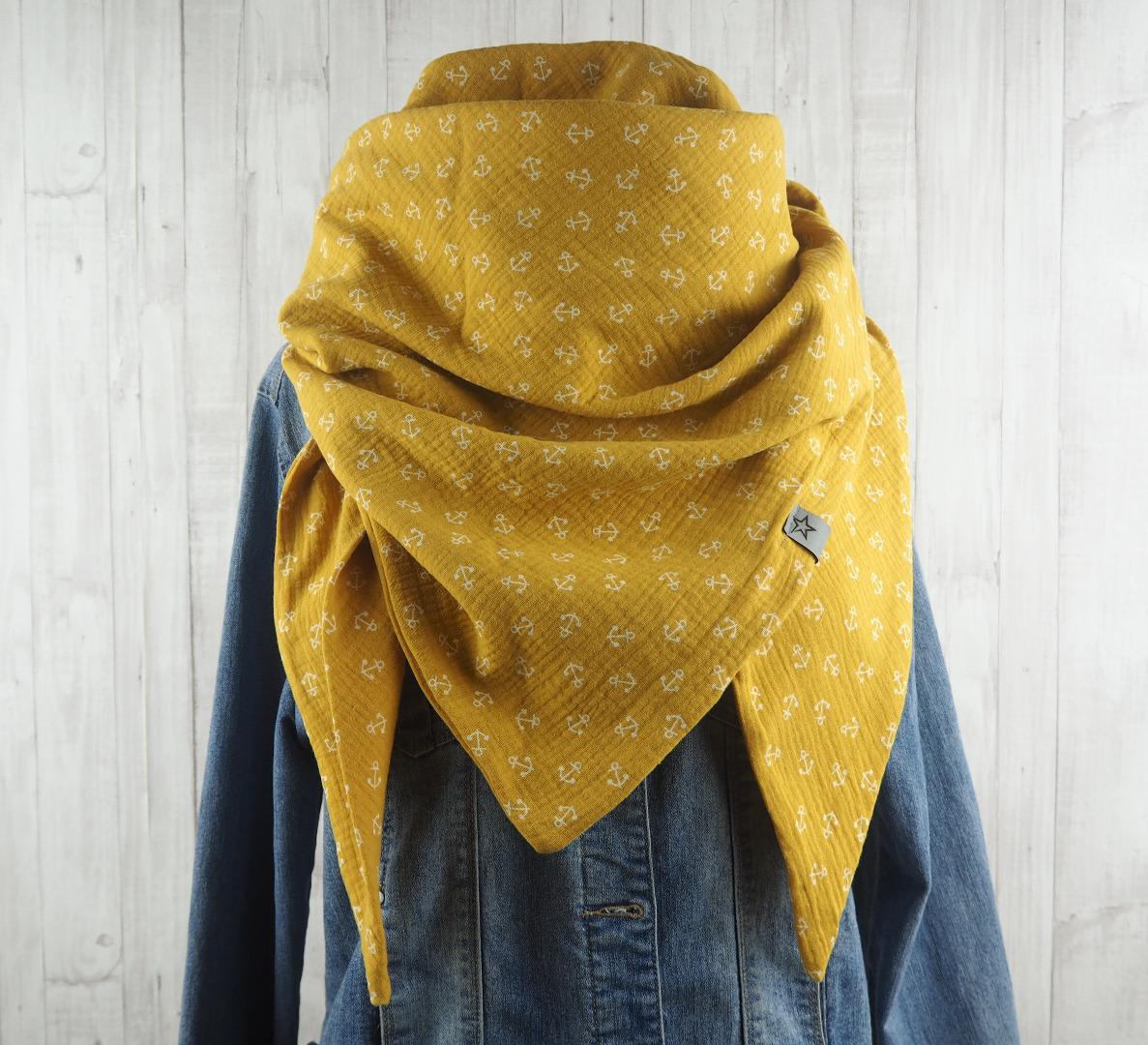 Tuch Anker Dreieckstuch Musselin Damen Schal
