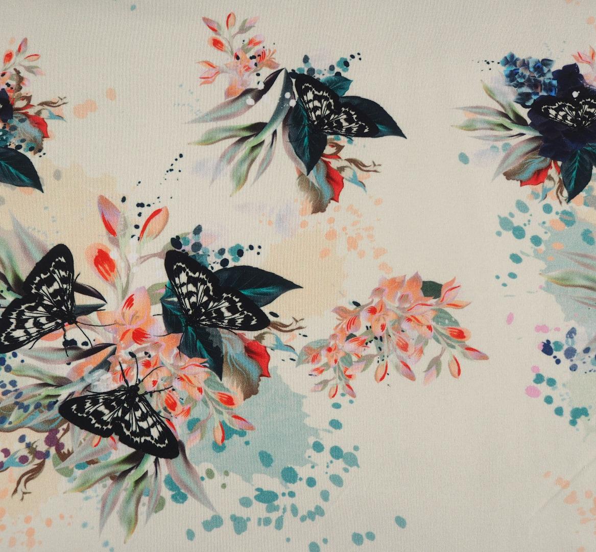 French Terry EUR/m Blumen und Schmetterlinge