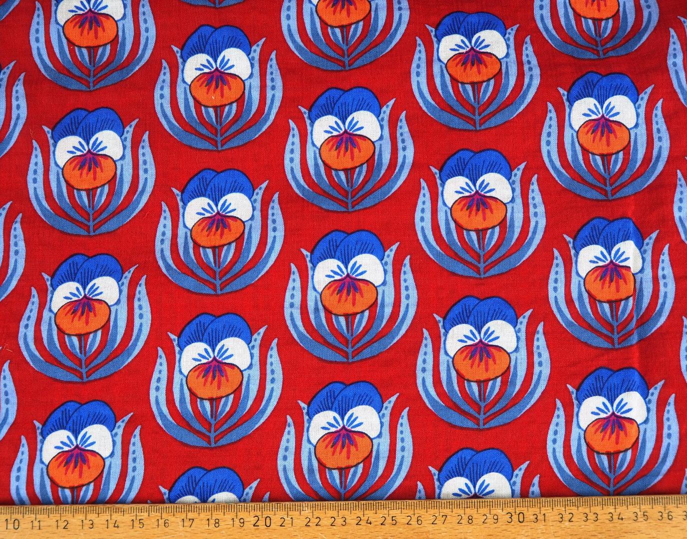 Viskosestoff EUR/m Baumwolle Viskose mit Stiefmütterchen