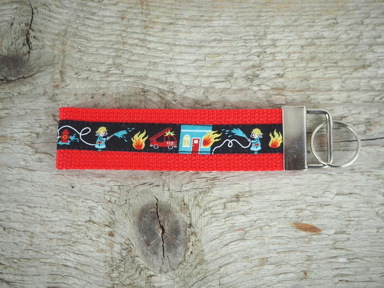 Rotes Schlüsselband - Schlüsselanhänger Feuerwehr kurz