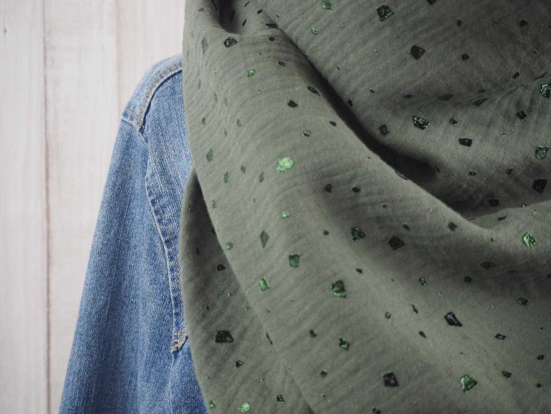 Tuch Dreieckstuch Musselin oliv mit glitzernden