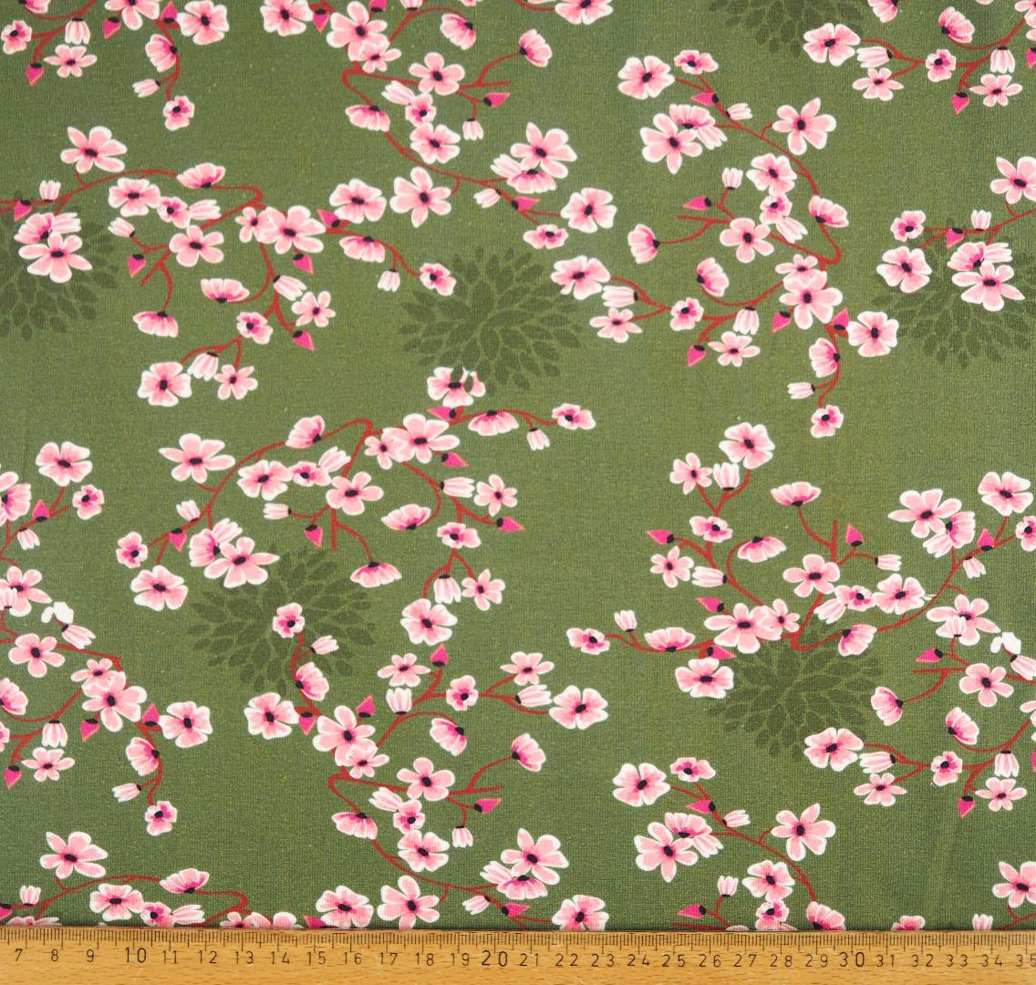 Jersey EUR/m Kirschblüten auf oliv Damenstoff