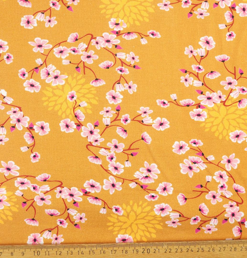 Jersey EUR/m Kirschblüten auf senfgelb Damenstoff