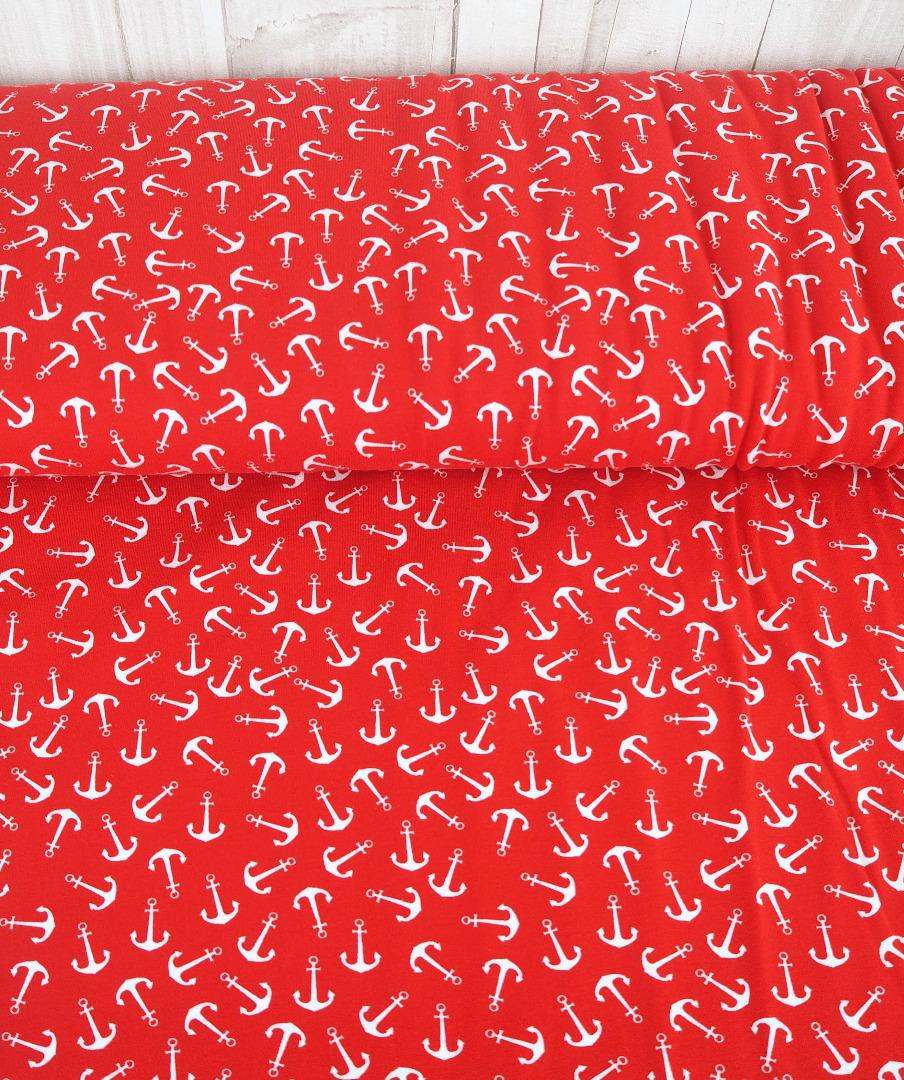 Jersey Anker EUR/m rot weiß maritim