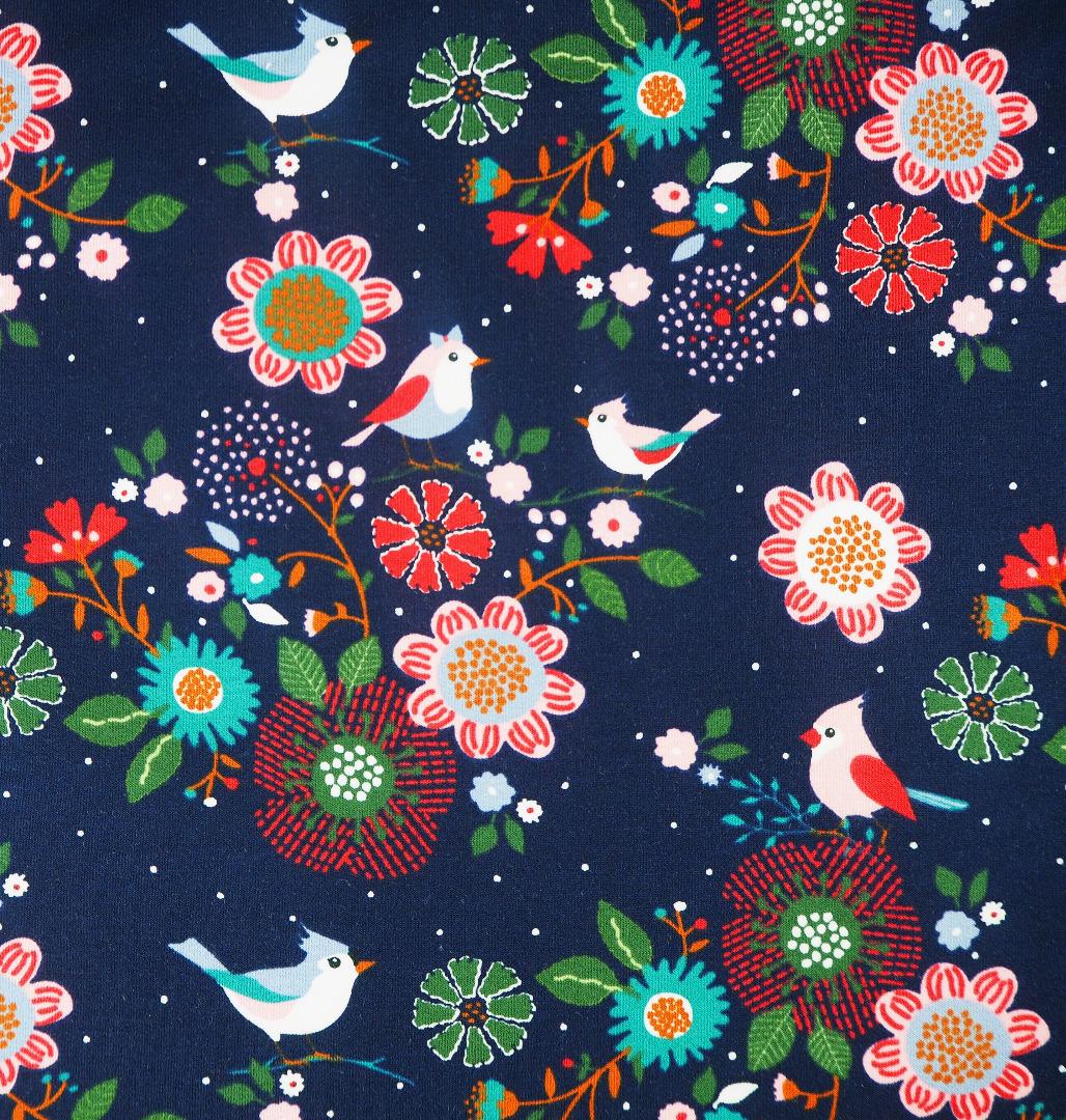 French Terry EUR dunkelblau mit Blumen