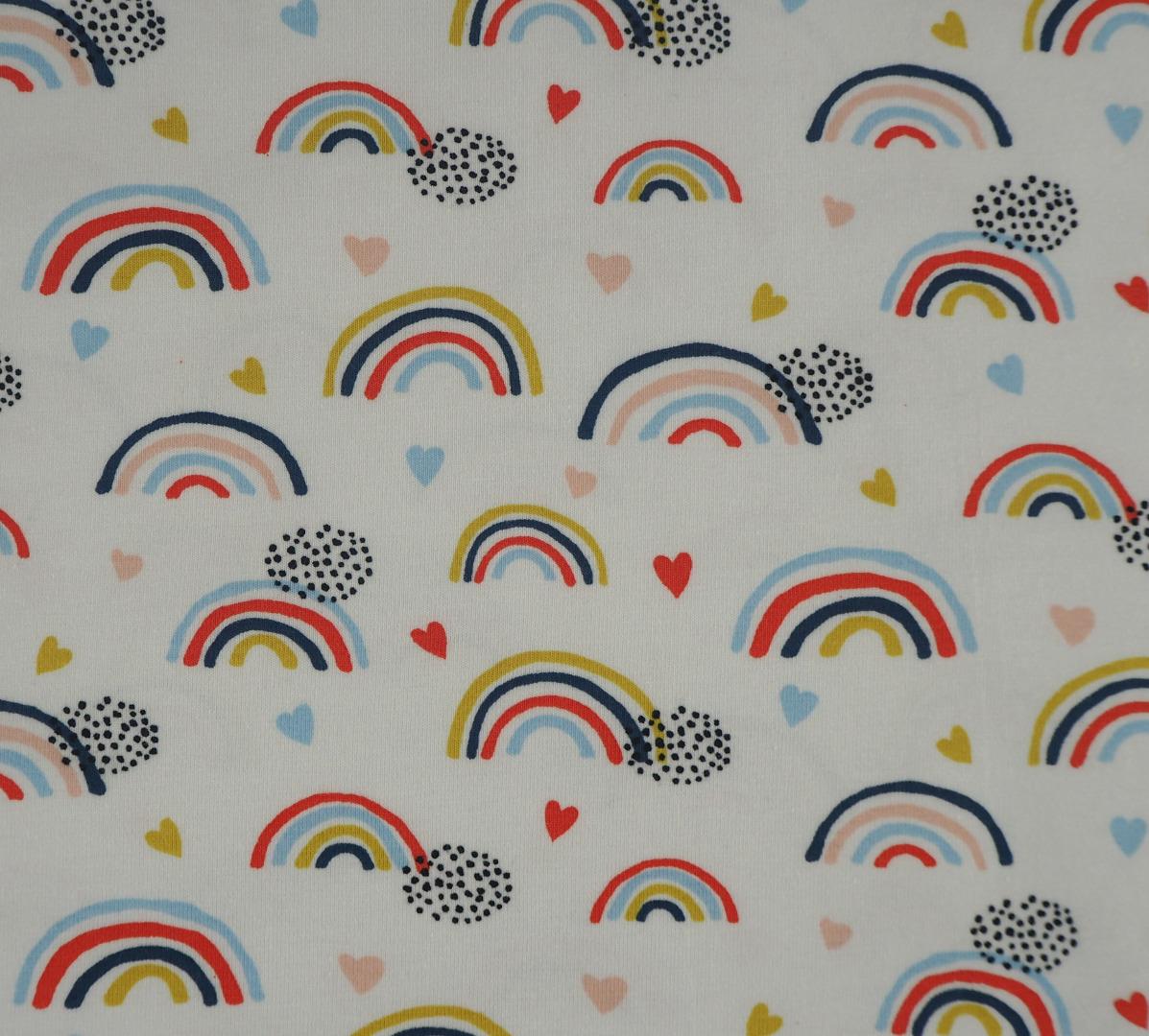 Jersey EUR/m weiß bedruckt mit Regenbogen