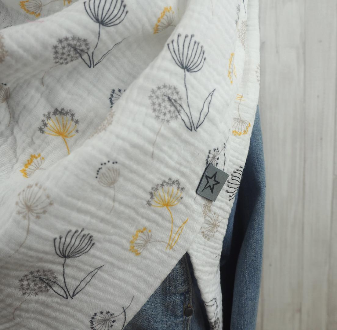 Tuch Dreieckstuch Musselin weiß mit Blumen