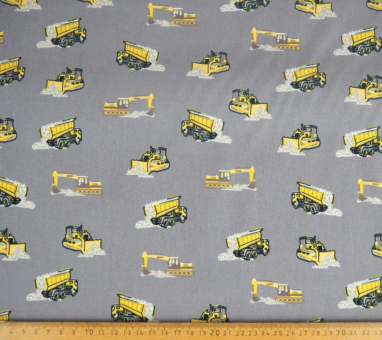 Baumwolle EUR/m Bagger Baufahrzeuge auf grau