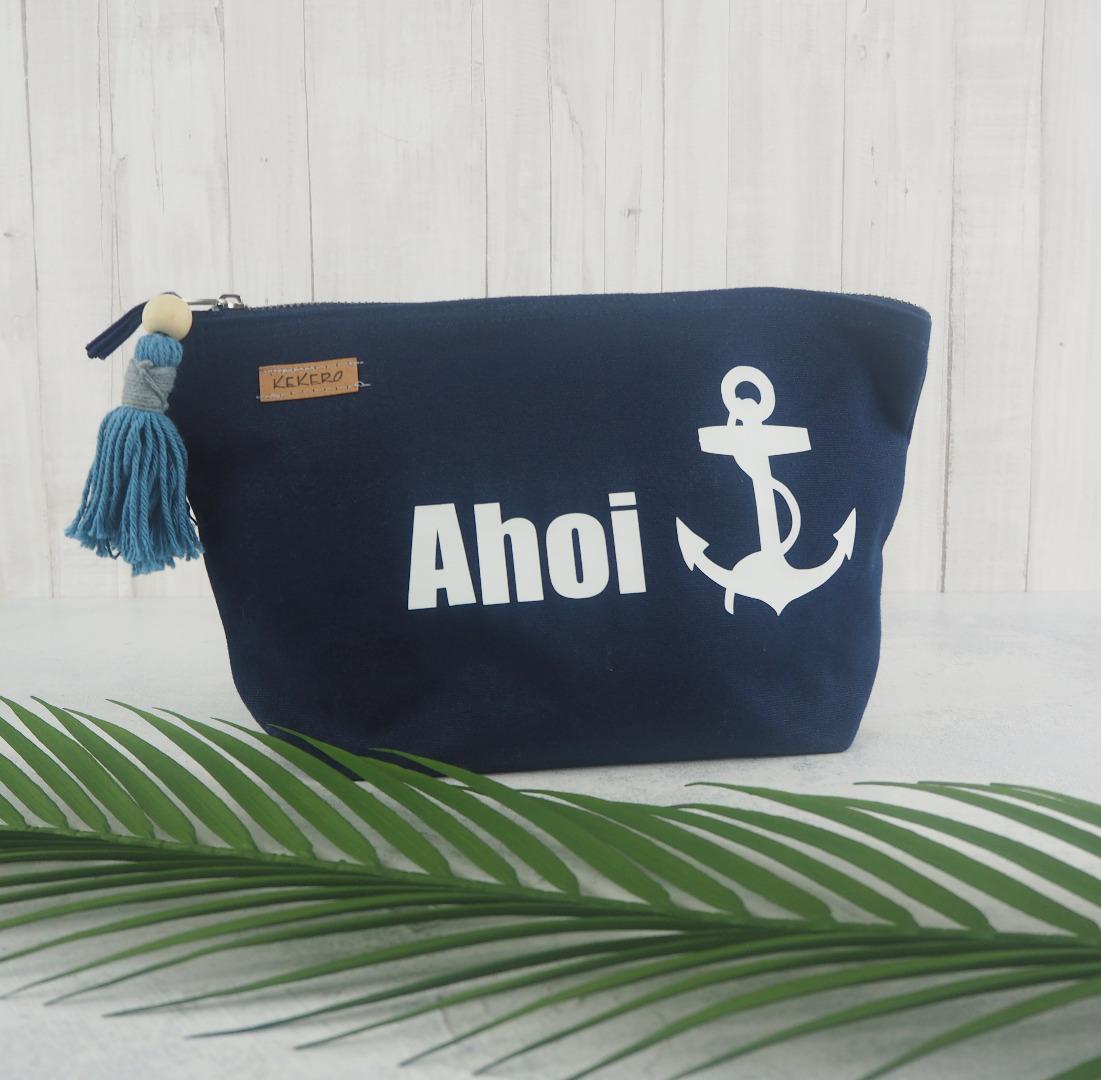 Maritime Kosmetiktasche Ahoi dunkelblau mit jeansblauer